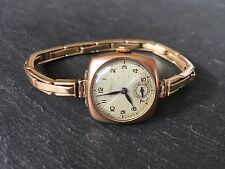 Vintage 9ct Gold Ladies Rotary Manual Wind Wristwatch Art Deco Style Watch