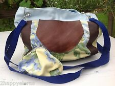 Purse Tote Bag Handmade Blue Flower & Brown Leather & Matching Change Purse