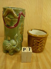 Lucky Bamboo Ceramic Pot Pots Planter SET OF 2 ELEPHANT TRUNK UP lucky VASE NP7
