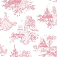 70-233 Graham and Brown Disney Princess Toile Pink Feature Wallpaper