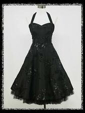 dress190 BLACK 50s HALTER FLOCK TATTOO ROCKABILLY PARTY COCKTAIL DRESS 12-14