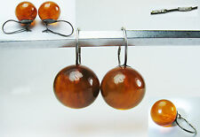VINTAGE USSR RARE EARRINGS Natural BALTIC AMBER 4 grams SILVER 875 star stamp