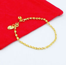 FreeShipping 24K Gold Plated Flash Wrested Rope Baby Chain Bracelet 2MM 5'' H026