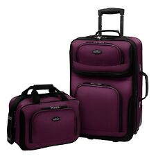 Carry-on Rio Purple Rolling Lightweight Expandable Suitcase Tote Bag Luggage Set