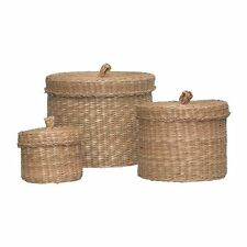 New Set of 3 IKEA LJUSNAN Seagrass Handmade Storage Boxes/Baskets With Lidspup10