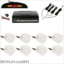 8 Parking Sensors White Autos LED Display Reverse Backup Radar Sound Alert Alarm