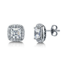 BERRICLE Sterling Silver Asscher Cut CZ Halo Stud Earrings