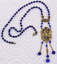 Antique Czech Art Deco Blue Rhinestone Glass Bead Dangle Pendant Drop Necklace