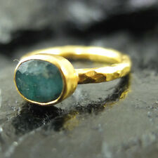 Handmade Hammered Band Emerald Stack Ring Yellow Gold over 925 Sterling Silver