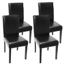 4x Esszimmerstuhl Stuhl Lehnstuhl Littau Leder, schwarz dunkle Beine