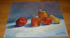 APPLES PEAR FRUIT PRESERVES JAM JELLY MASON JARS OIL IMPRESSIONISM OIL PAINTING