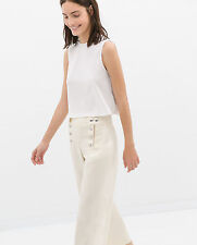 ZARA WOMAN STUDIO CREAM SAILOR CULOTTE TROUSERS S 8 10!