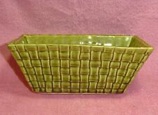 Vintage Rectangle Green Basket Weave Ceramic Planter Brush USA