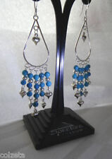 Handmade turquoise & silver ball chandelier earrings with sterling silver wires