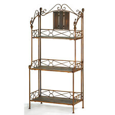 Rustic Wood Metal Bakers Rack Storage Display Shelf