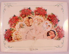 VINTAGE INSPIRED VICTORIAN FAN GREETING CARD OLD PRINT FACTORY Poinsettia Kids