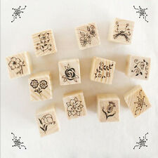 DIY Mini 12Pcs Vintage Flower Lace Wooden Rubber Stamp Diary Craft Scrapbooking