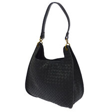 Auth Bottega Veneta Intrecciato Shoulder Bag Black Leather Vintage Italy BT12170