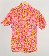 1960's Vintage Liberty House Hawaii Men's Pink Button Down Tropical Hawaiian Shi
