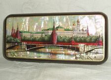 """Russian Lacquer box Fedoskino Mother of pearl """" Red Moscow """" Hand Painted"""