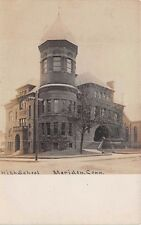 MERIDEN, CT ~ HIGH SCHOOL ~ UNSIGNED QUIMBY REAL PHOTO POST CARD ~ c. 1906