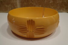 VINTAGE Celluloid ? YELLOW Bangle Hand Carved BRACELET