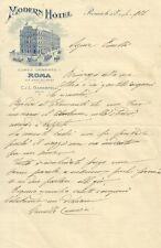 Lettera Autografo su Carta Intestata di Camilla Camozzi Modern Hotel Roma 1906