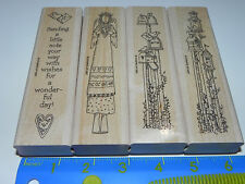 Stampin Up RETIRED Not So Short Notes Set of 4 Angel Birdhouses Mailboxes