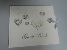 Guest Book Silver Love Hearts Wedding Engagement Birthday  16 18 21 25 50 70 100