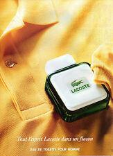Publicité Advertising 1988  Parfum LACOSTE eau de toilette pour homme