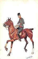 Military Uniform, Brown Horse, Illustration, Signed Card 1903?