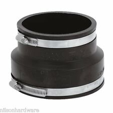 "30-Flexible Fernco Rubber 4"" Clay x 4"" PVC Plastic Sewer Pipe Conector Coupling"