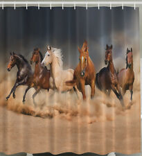 Horse SHOWER CURTAIN Fabric Wild West Horses Stampede Western Stallion Mustang
