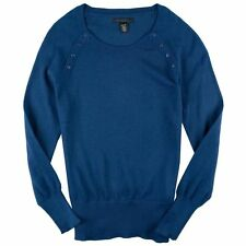 NEW Kenneth Cole Women's Crew-neck Knit Sweater Buttoned Accents Teal Blue S