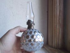 ANTIQUE OPALESCENT COIN DOT MERCURY GLASS OIL LAMP 1890s W/BURNER & CHIMNEY