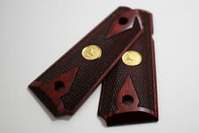 Rosewood Laminate w/ Gold Medallion Colt 1911 Officer / Defender Grips - NEW