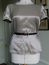 Emporio Armani beige metallic blouse top Size 8