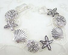 Silver Ocean Starfish Shell Bracelet Magnetic Clasp Fashion Jewelry NEW