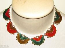 Thermoset Chunky Autumn Orange Green & Caramel Brown Choker Necklace on Gold