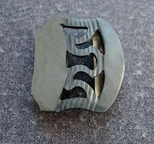 ANTIQUE 20'S ART DECO FLAPPER FILIGREE MARBLED DARK GREY GALALITH BELT BUCKLE
