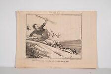H. DAUMIER Emotions de Chasse chute chien lièvre Le Charivari Janvier 1855