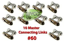 TEN MASTER CONNECTING LINKS #60 FOR ROLLER CHAIN #60, GO KARTS,4X4,SCOOTERS #175