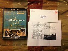 TITANIC WHITE STAR LINE WALTER LORD SIGNED LETTER W/STAMP NIGHT TO REMEMBER BOOK