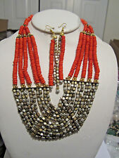 Orange Multi Layers Two Tone Faceted Metal Bead Wood Bead Necklace Earring Set