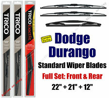Wiper Blades 3pk Front Rear Standard fit 2011-2016 Dodge Durango - 30221/210/12A