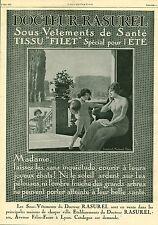 Publicité Ancienne sous-vêtement de santé Dr RASUREL   1926 ( P 38 )