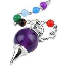 Amethyst Gemstone 7 Chakra Stone Chain Healing Dowsing Reiki Divination Pendulum