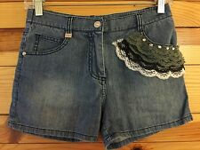 *ROBERTA DI CAMERINO ITALY* Girls Chambray Denim Shorts Lace Trim Size 140  12