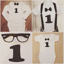 Handmade Baby Boy First 1st Birthday Outfit Vest Bodysuit Bow Tie With Braces