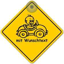 Road Sign mit Saugnapf Baby on Board Wunschname NEU 7